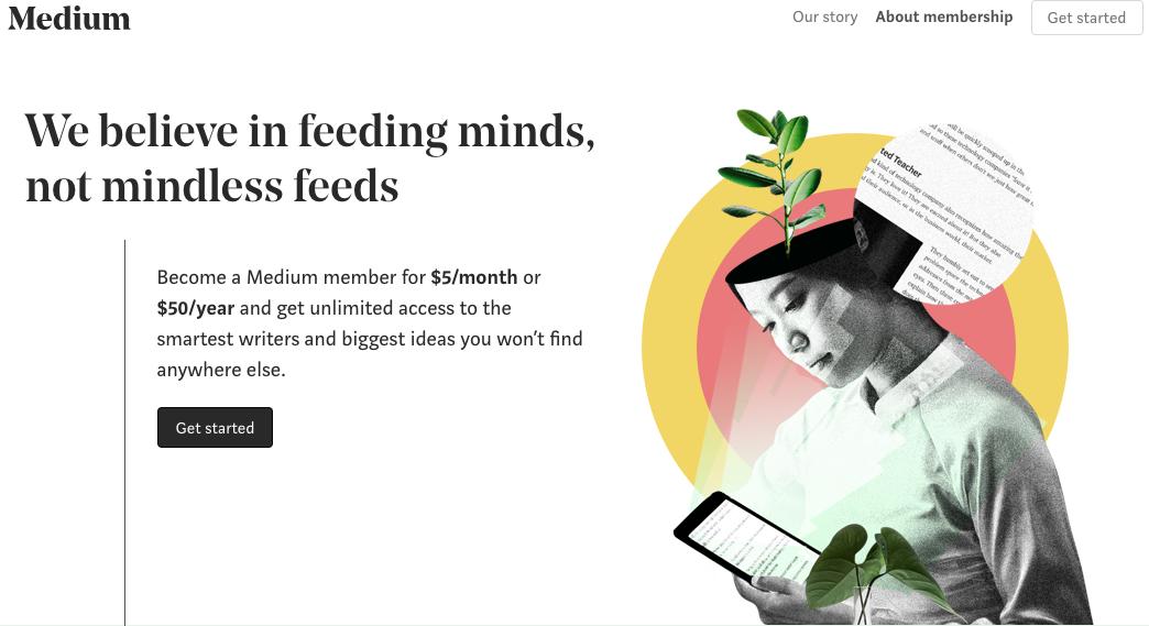 Fem dollar i måneden for å lese innhold på Medium
