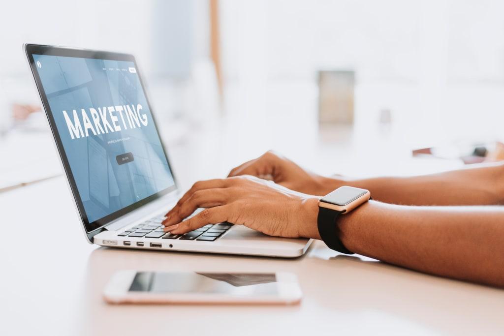 Marketing displaying on screen of laptop