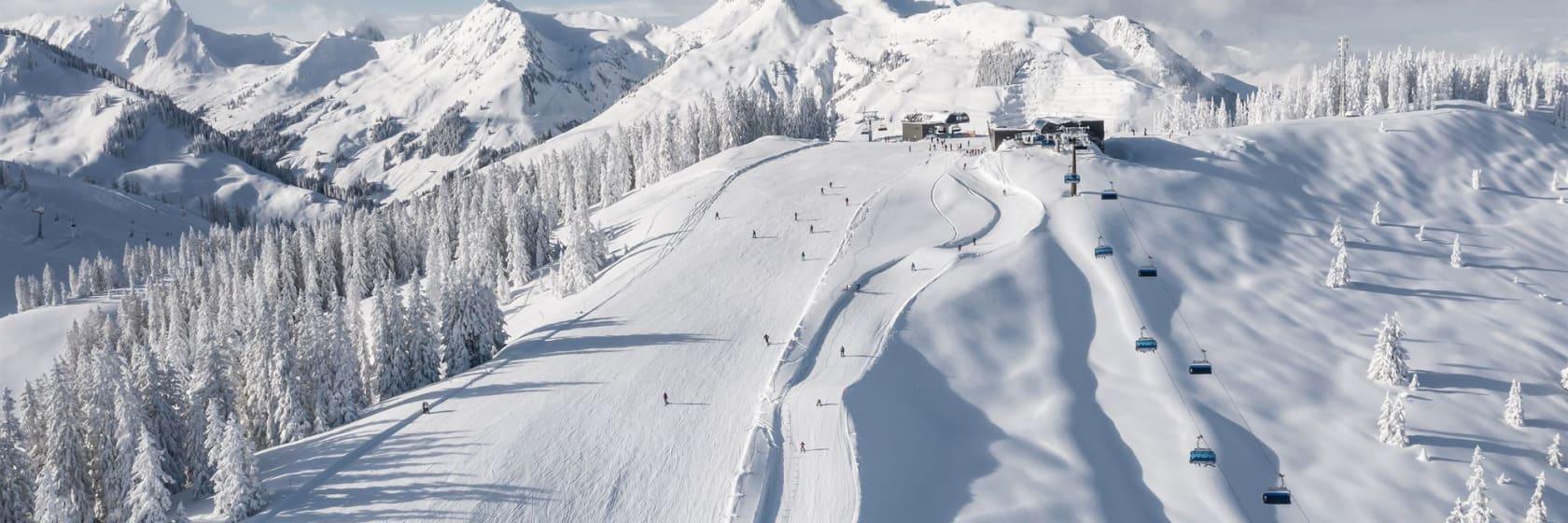 Skiløbere på piste med snebeklædte træer og bjerge i Saalbach