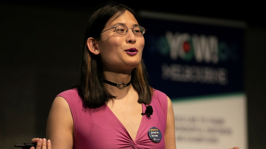 Photo of Liz Fong-Jones speaking at YOW! Conference 2019