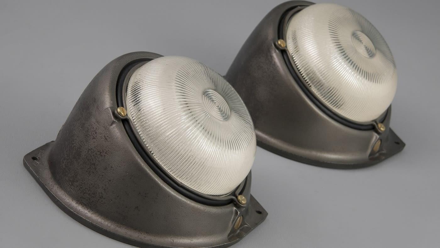 British enamel pendants and industrial wall lights
