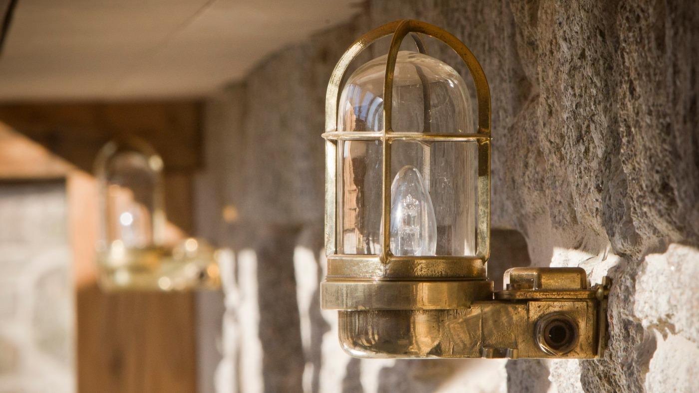 Vintage caged industrial lights by skinflint