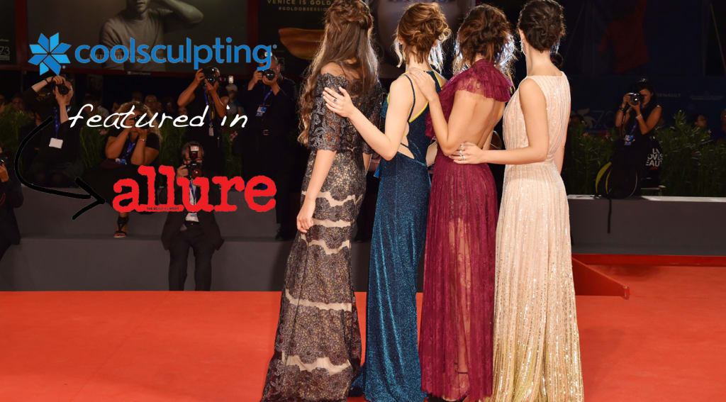 Models on red carpet with caption Coolsculpting featured in Allure magazine