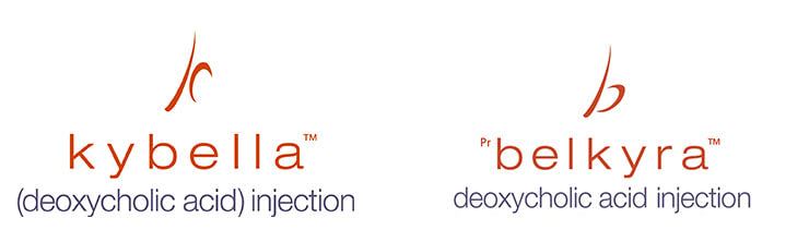 Logos of Kybella and Belkyra submental fat treatment.