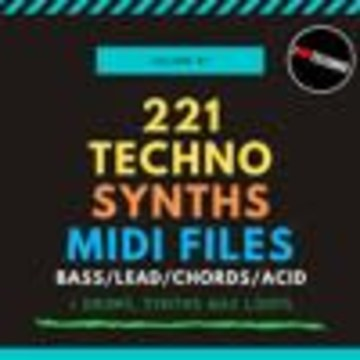 HardTechno and Schranz Samples & Loops - 221 Techno Synths MIDI Files Vol. 1 (Sample Pack MIDI/WAV) Artwork