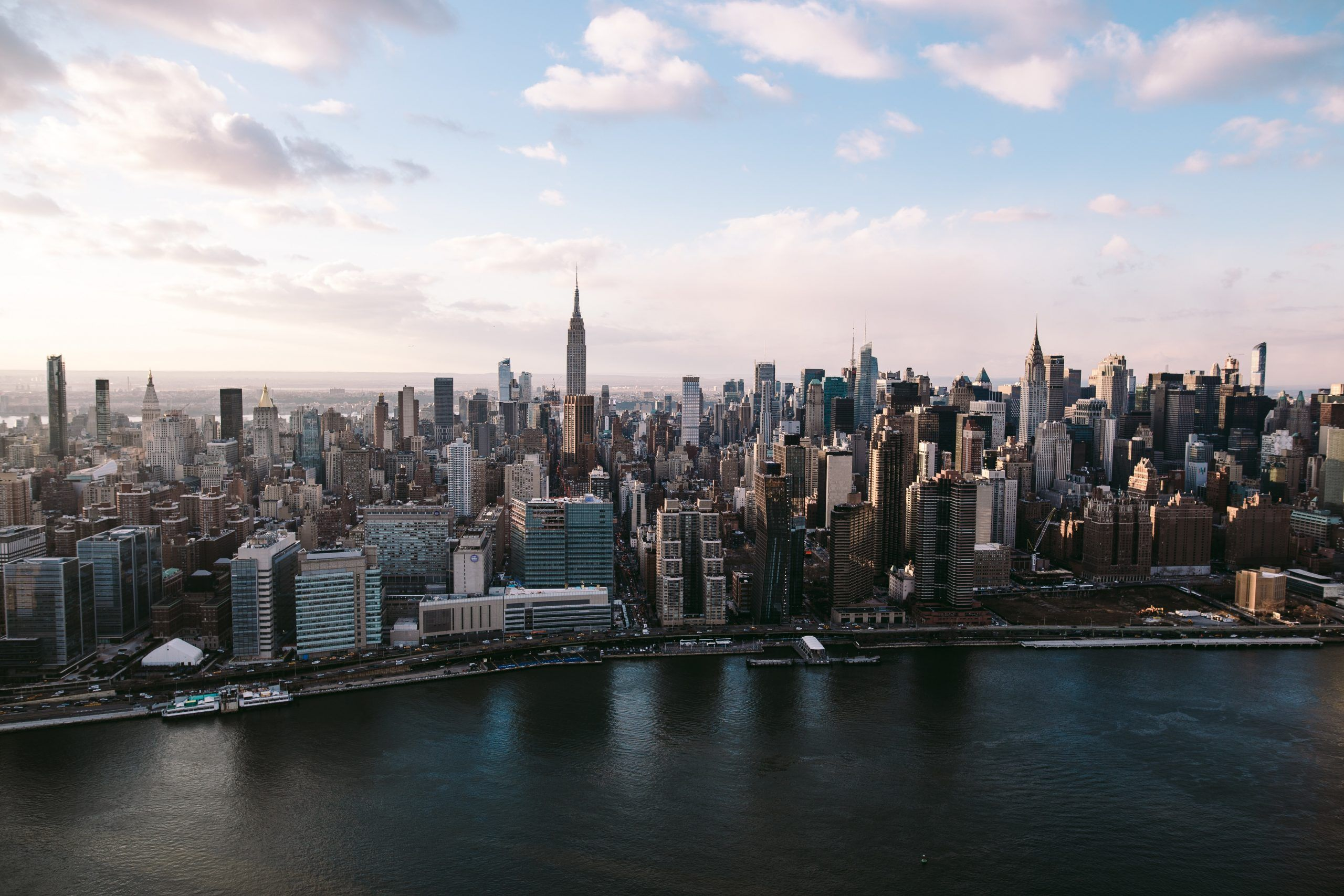 The view of the Manhattan Skyline from a helicopter