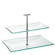 Aura 2 Tiered Rectangular Glass Plate