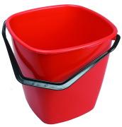 Bøtte firkant 9,5 liter rød
