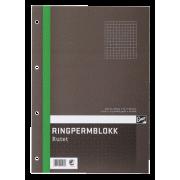 Ringpermblokk A4 70g 80 blad, ruter