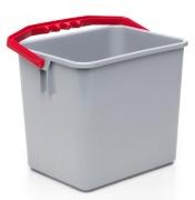 Bøtte grå m/rødt håndtak 6 liter