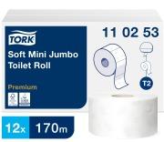 Toalettpapir Tork Mini Jumbo Myk  2-lag,preget blå
