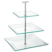 Aura 3 Tiered Square Glass Plate