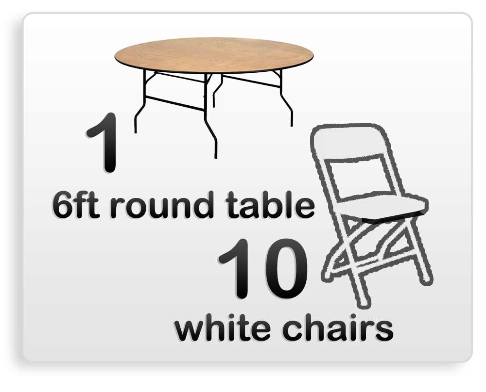 round table white chair rentals