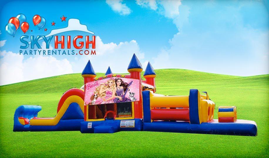 50ft Barbie Obstacle Course Bouncy Castle