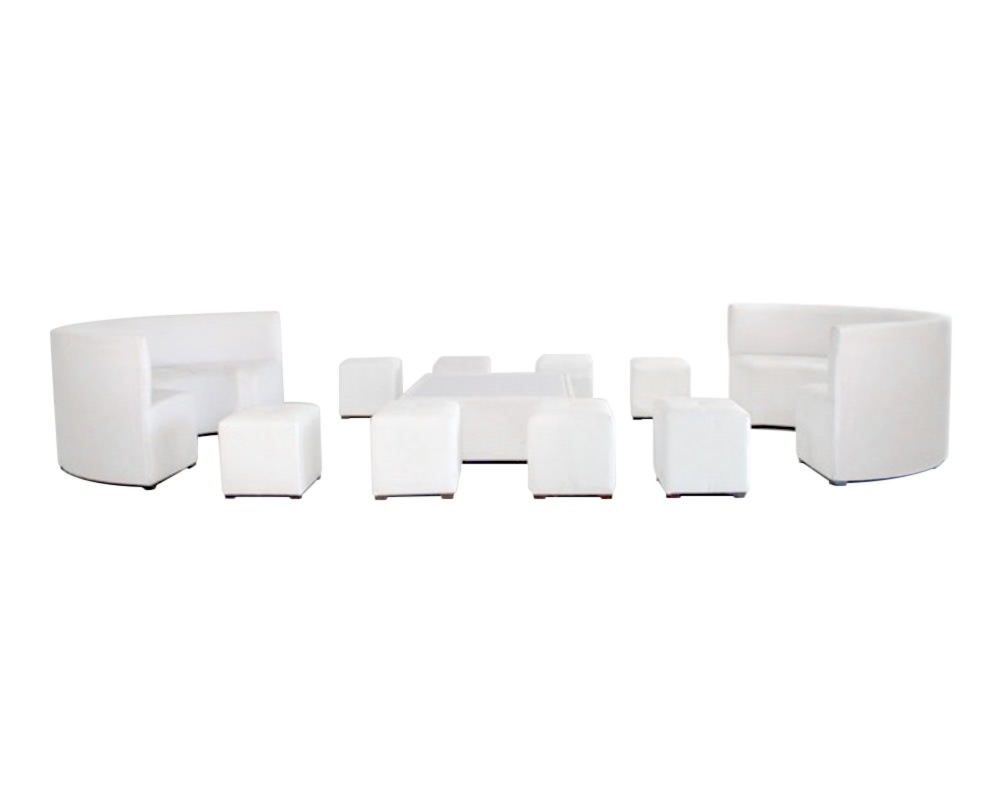 Booth + square ottomans set for 16