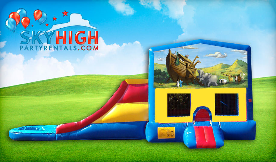 Noah's Ark church themed bounce house slide