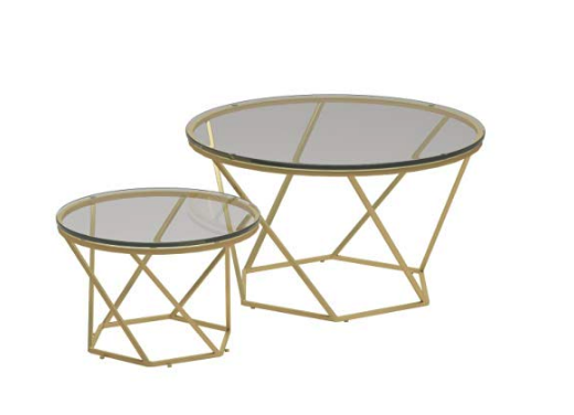 Gold & Glass Coffee Table Pair
