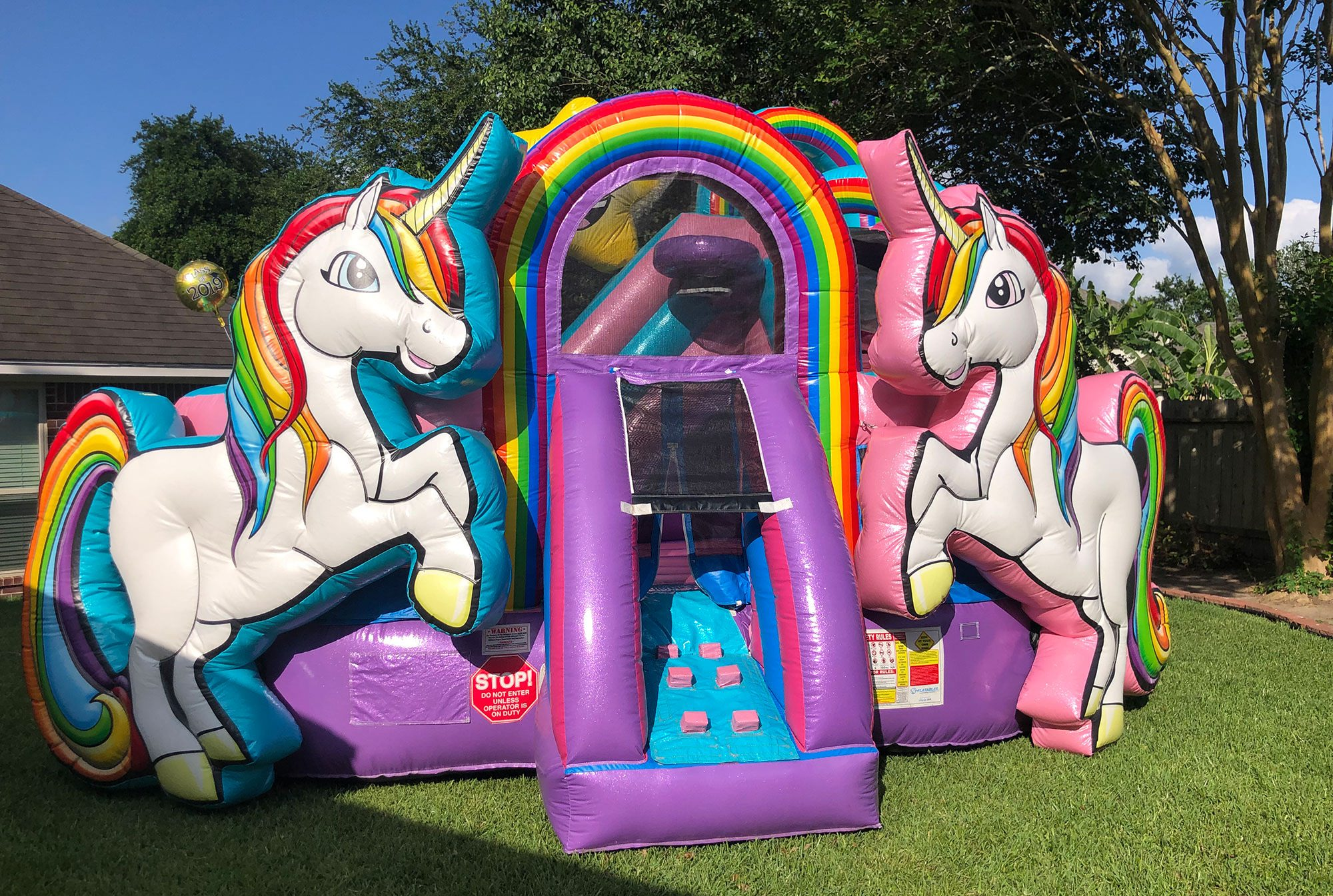 USA Unicorn Playzone w/ Wet or Dry Slide Rentals Sky High Party Rentals