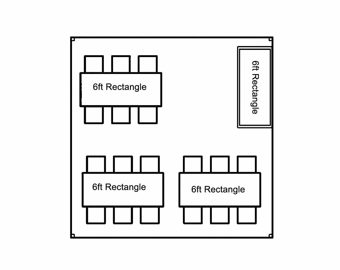 Seating Chart for 15ft x 15ft High Peak Tent