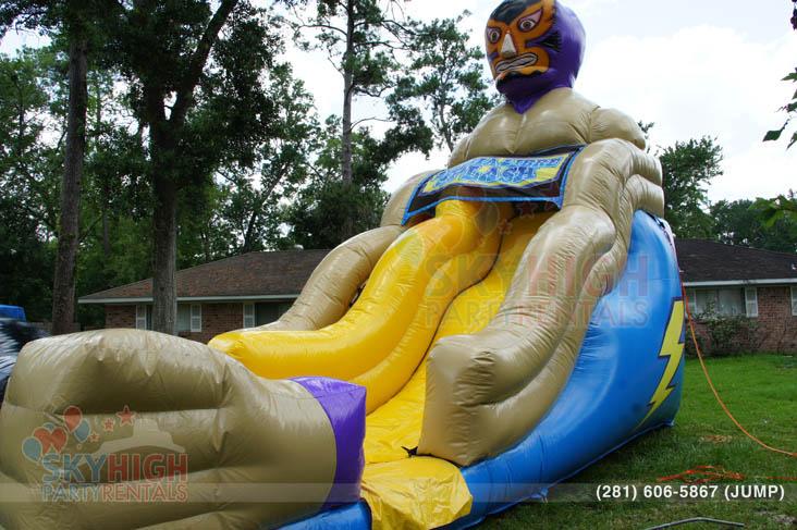 luchador cinco de mayo themed wet slide