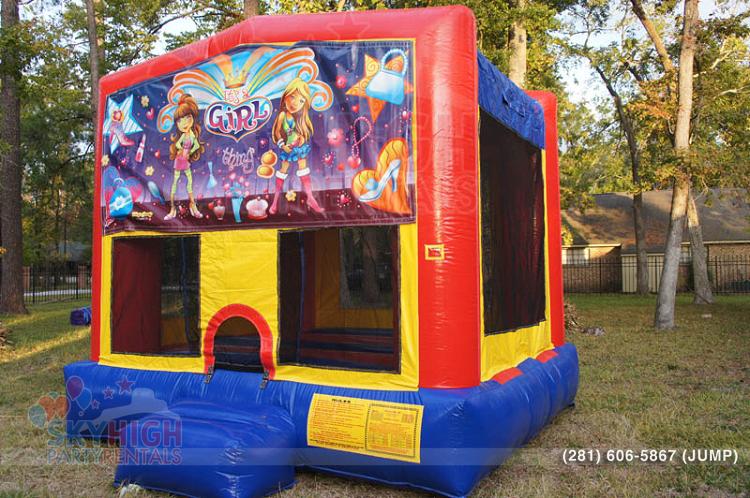 girl themed moonwalk for kids parties