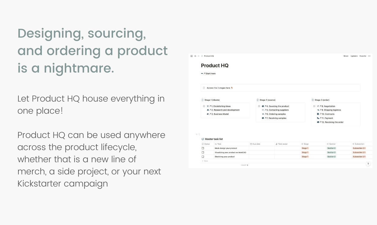 Product HQ | Notion Template | Prototion