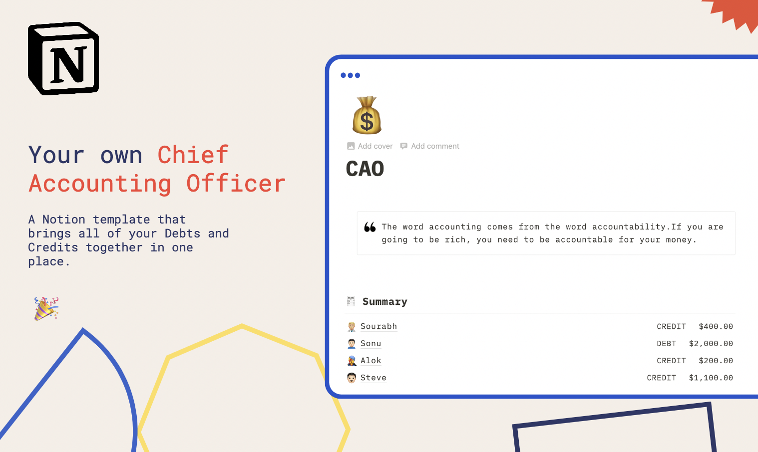 CAO for Notion   Buy Notion Template for Accounting