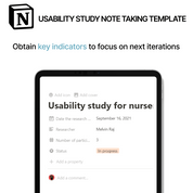 Note-taking system for Tracking Usability Study - UX Design | Free Notion Template| Prototion