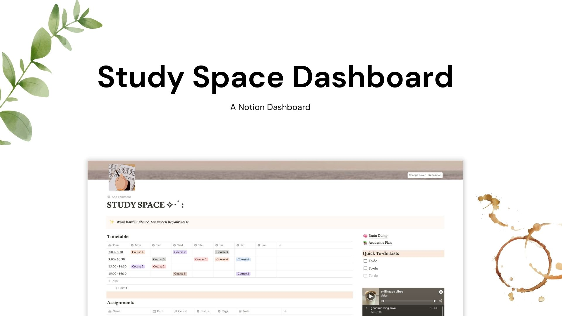 Study Space Dashboard (Beige)   Notion Template   Prototion