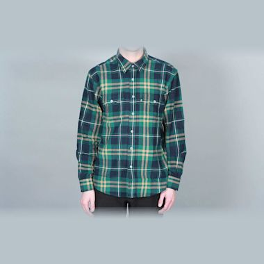 DQM Steamer Plaid Cotton Flannel Shirt Green