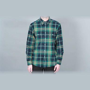 DQM Steamer Plaid Cotton Flannel Shirt Green