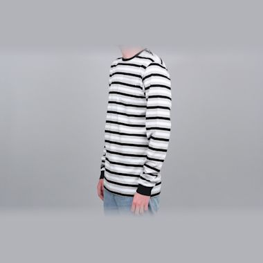 Second view of Civilist Striped Pocket Longsleeve T-Shirt Black / White / Grey
