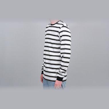Second view of Civilist Striped Pocket Longsleeve T-Shirt Black / White / Grey