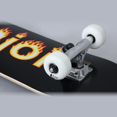 Second view of Enjoi 7.25 Helvetica Flame Youth FP Complete Skateboard Black