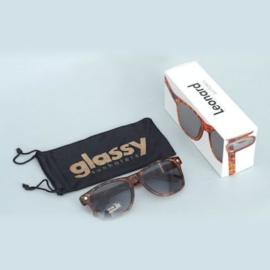 Second view of Glassy Leonard Brown Tort Sunglasses