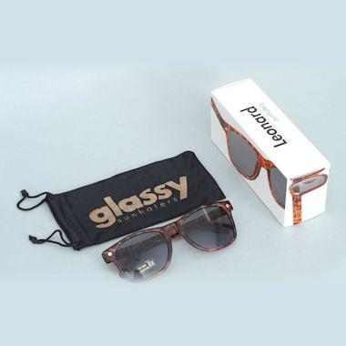 Second view of Glassy Leonard Brown Tort Sunglasses