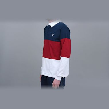 Second view of Magenta Tricolour Longsleeve Polo Shirt Navy / Red / White