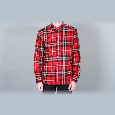 DQM Steamer Plaid Cotton Flannel Shirt Red
