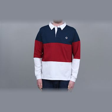 Magenta Tricolour Longsleeve Polo Shirt Navy / Red / White