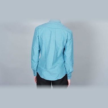 Second view of DQM Sandrevan Horizontal Stripe Shirt Turquoise