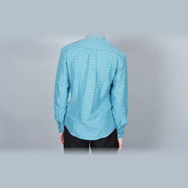 Second view of DQM Sandrevan Horizontal Stripe Shirt Turquoise