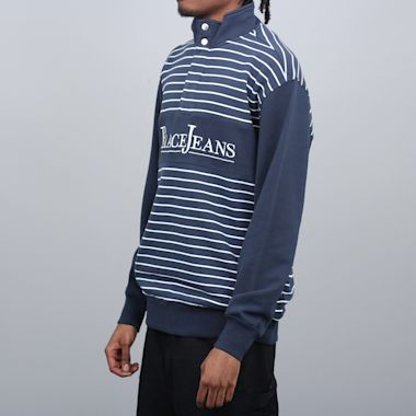 Second view of Palace PJ Popper Neck Crew Navy