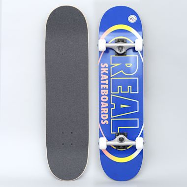 Real 8 Team Oval Gleams Large Complete Skateboard Blue