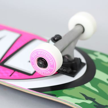 Second view of Real 7.5 Awol Ovals Small Complete Skateboard Green / Pink
