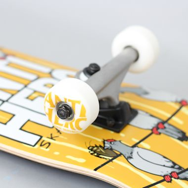 Second view of Anti Hero 8 On A Wire Large Complete Skateboard Yellow