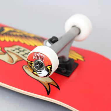 Second view of Anti Hero 8 Team Eagle Large Complete Skateboard Red