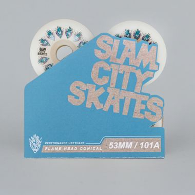 Second view of Slam City 53mm 101A Flamehead Conical Skateboard Wheels White