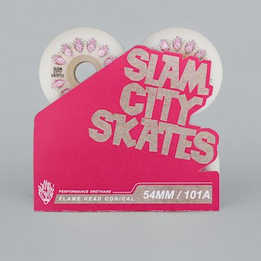 Second view of Slam City 54mm 101A Flamehead Conical Skateboard Wheels White