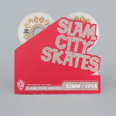 Second view of Slam City 52mm 101A Flamehead Conical Skateboard Wheels White