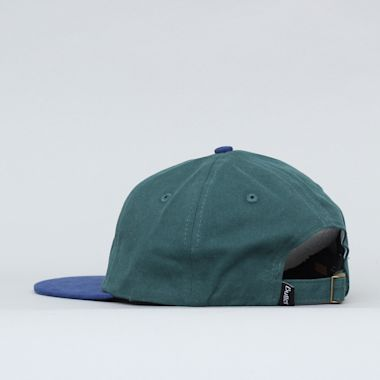 Second view of Butter Goods Badge 6 Panel Cap Forest / Blue